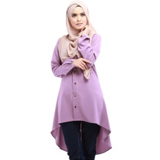 65b031e90dbe61 Women Fashion Tunic Blouse Abaya Islamic Muslim Wear Long Sleeve Tops  Dress-Purple - intl