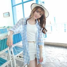 919f3371dd8 Women Girls Summer Cool Sun Coat Lightweight Quick Dry Chiffon Cuff Plaid  Long Sleeve Driving Riding