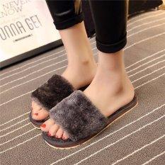 Women Home Indoor Open Toe Soft Shoes Mule Slipper Fur Winter Warm Flats Plush Grey -