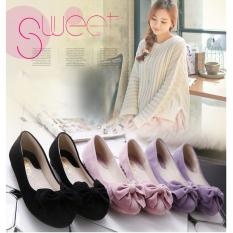 VENFLON Women Korean Sweet Flower Bowknot Round Toe Ballet Flats Loafers  (purple)   Intl