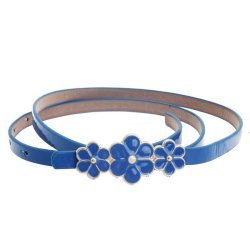 Women Leather Flower Waist Belt Waistband Blue - Intl