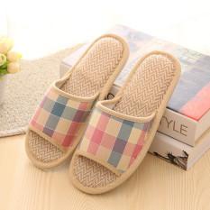 Women Men Anti-slip Linen Plaid Home Indoor Slippers Summer Open Toe Shoes Flax