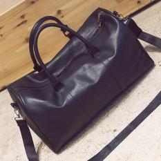 Women Men Leather Outdoor Large Gym Duffel Bag Travel Weekend Overnight Luggage #black - intl