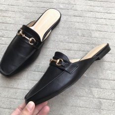 50a0f7fd1c4 women mules loafers flats square toe with tassel fringe buckle trim 35 36  37 38 39