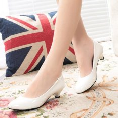 15961ce59ba Women OL Party Patent Leather Middle Heels Wedding Formal Working Business  Shoes D141 White - intl