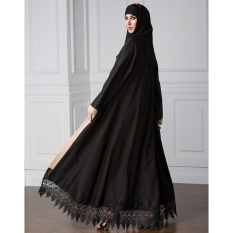 Women Plus Size Muslim Cardigan Spliced Crochet Lace Hem Long Sleeve Islamic  Abaya Maxi Dress Outwear 7a3796ec3d7d