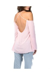 Women Sexy Chiffon Backless Long Sleeve Blouse Pink