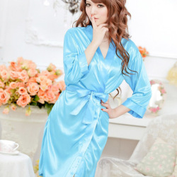 Women Sexy Satin Open Front Belted Nightgown T-back Blue