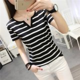 b39bba47dc3 Women summer v neck casual striped tee t-shirt - intl