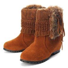 3d173a39c263 Women Warm Winter Faux Fur Tassel Wedge Heel Snow Boots Lady Suede Winter  Shoes BROWN -