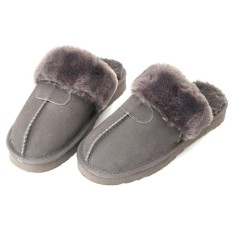 Women Winter Natural Sheepskin Fur Slippers Warm Indoor Wool Home Shoes Soft New - intl