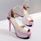 9a4d16405bf5 Women s Peep Toe Platform High Heels Elegant Sandals with Flowers Pink -  intl
