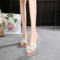 Women's Flowers Summer Rubber Sandals Beach Slipper Flats Jelly Shoes D176 Beige - intl