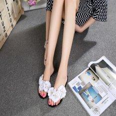 Women's Flowers Summer Rubber Sandals Beach Slipper Flats Jelly Shoes D176 Black(EU:36