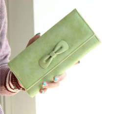 Women's Frosted PU Leather Clutches Bowknot Pattern Long Coin Purse (Green) (Intl)