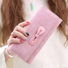 Women's Frosted PU Leather Clutches Bowknot Pattern Long Coin Purse (Pink) (Intl)
