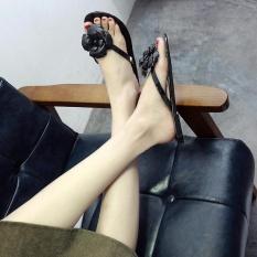 Women's Jelly Cute Flower Summer Sandals Beach Rubber Sole Slipper Flats Shoes D150 Black - intl