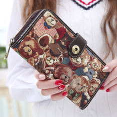 Women's Lovely Bear Pattern Clutches Retro Long Coin Purse (Coffee) (Intl)