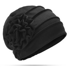 520121c15fb Womens New Side Paste Large Flower Beanies Cap Casual Luxury Cotton Solid  Bonnet Hat - intl