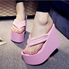 Women's Sexy High Heels Flip Flops Slippers Wedge Platform Antiskid Beach Shoes