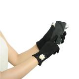 Womens Touch Screen Winter Warm Wrist Gloves Mittens Black - thumbnail 1