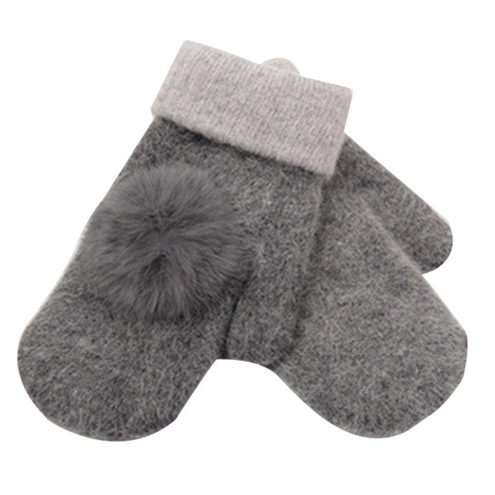 Women's Warm Winter Gloves Mittens Grey - thumbnail