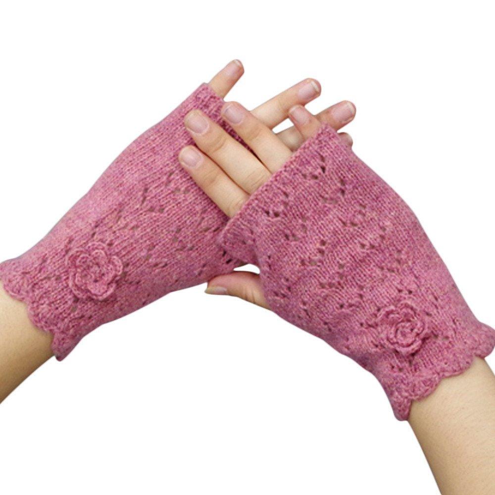 Women's Warm Winter Gloves Mittens Pink - thumbnail