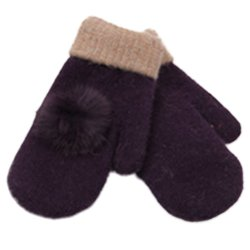 Women's Warm Winter Gloves Mittens Purple - Intl