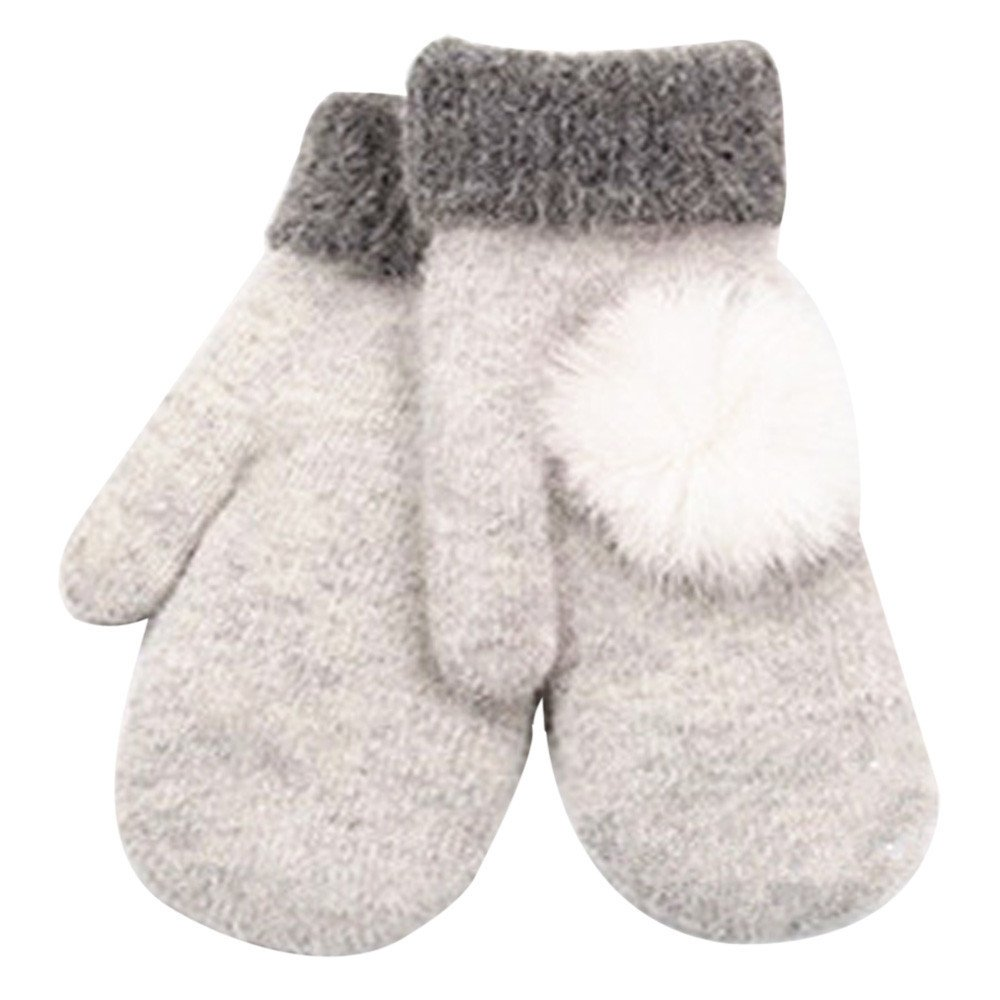 Women's Warm Winter Gloves Mittens White - thumbnail