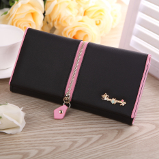Women's Zipper Decoration Bifold Clutches PU Leather Long Purse (Black) (Intl)