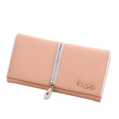 Women's Zipper Decoration Bifold Clutches PU Leather Long Purse (Orange) (Intl)