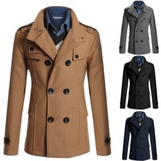 Wool Thicken Winter Autumn Mens Trench Coat Long Pure Colours Blend Woolen Coat - Intl By Make A Comeback Shop.