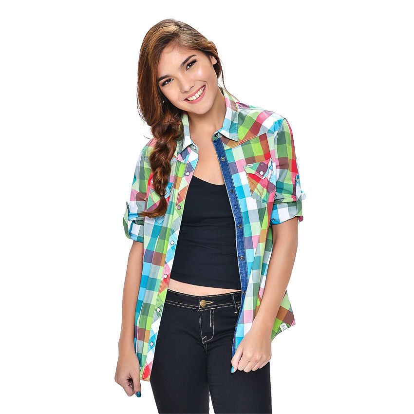 Wrangler Ladies' Checkered Long Sleeves Shirt (Lapis) - thumbnail