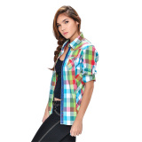 Wrangler Ladies' Checkered Long Sleeves Shirt (Lapis) - thumbnail 1