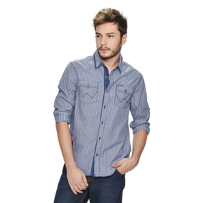 Wrangler Men's Checkered Long Sleeves Shirt (Ash Blue) product preview, discount at cheapest price