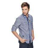 Wrangler Men's Checkered Long Sleeves Shirt (Ash Blue) - thumbnail 2
