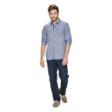 Wrangler Men's Checkered Long Sleeves Shirt (Ash Blue) - thumbnail 4
