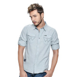 Wrangler Men's Solid Long Sleeves Shirt (Mist Chambray) - thumbnail 1