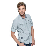 Wrangler Men's Solid Long Sleeves Shirt (Mist Chambray) - thumbnail 2