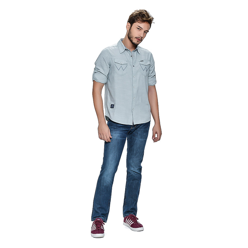 Wrangler Men's Solid Long Sleeves Shirt (Mist Chambray) product preview, discount at cheapest price