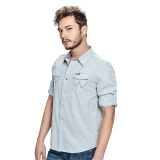 Wrangler Men's Solid Long Sleeves Shirt (Mist Chambray) - thumbnail 4