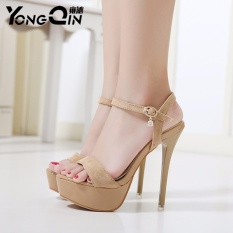 00db0577828 YONGQIN 2017 Concise Suede High Heels Sandals Women T Ankle Strap Summer  Sexy Dress Shoes Woman