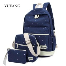 YUFANG 3pcs set Dot Printing Women Backpack Girls School Bags For Teenager  Canvas Backpack Large cd75fb47e88b3