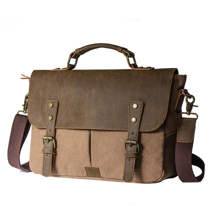 YUFANG British canvas Men messenger bag Men tote bag (Light coffee) (Light coffee)