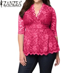 5f0f822ed69 ZANZEA 2017 Trendy S-6XL Oversize Womens Deep Plunge V Neck Half Sleeve Lace  Crochet