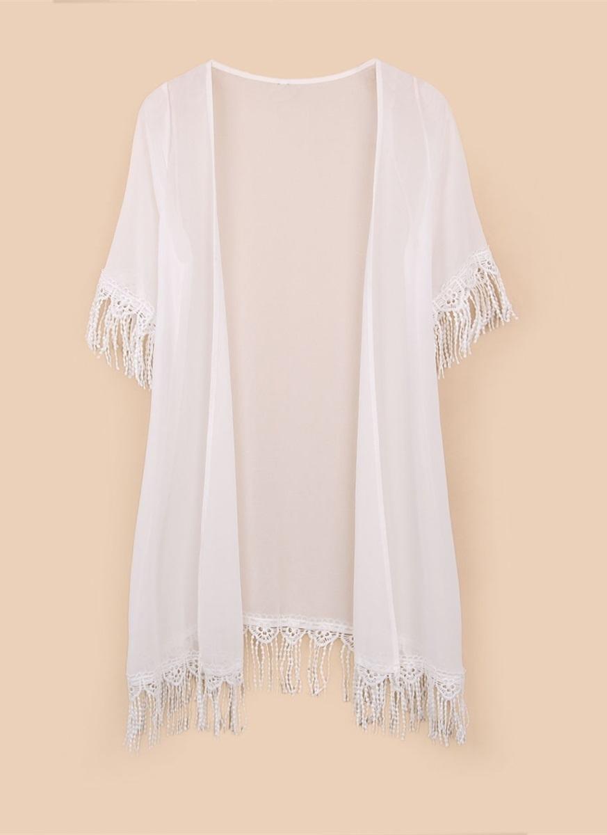 Zanzea 5XL Women Cardigan Tassels Chiffon Maxi Baggy Coat (White)