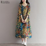 ZANZEA Women Floral Print Long Shirt Dress Summer Holiday Party Midi Dress Plus