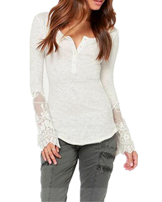 Zanzea Lace Button Loose Shirt (White)