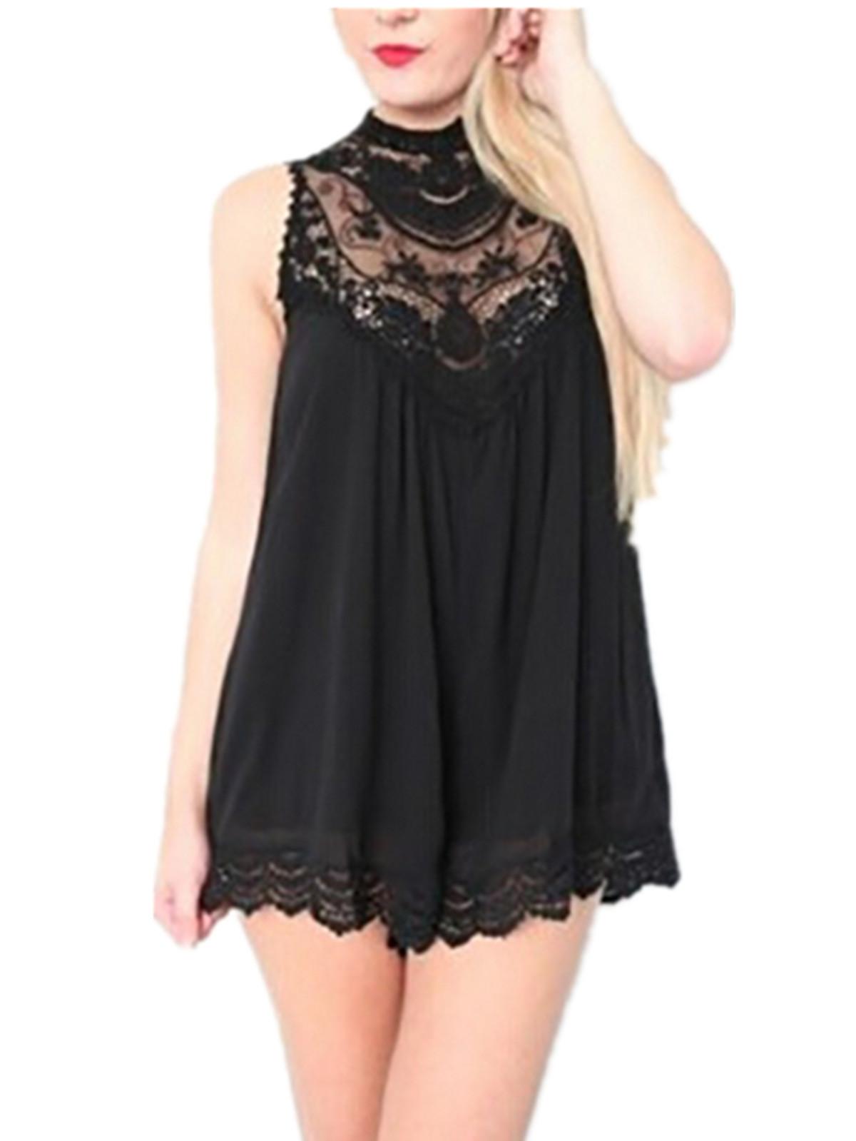 zanzea Lace Crochet Chiffon Mini Dress (Black)