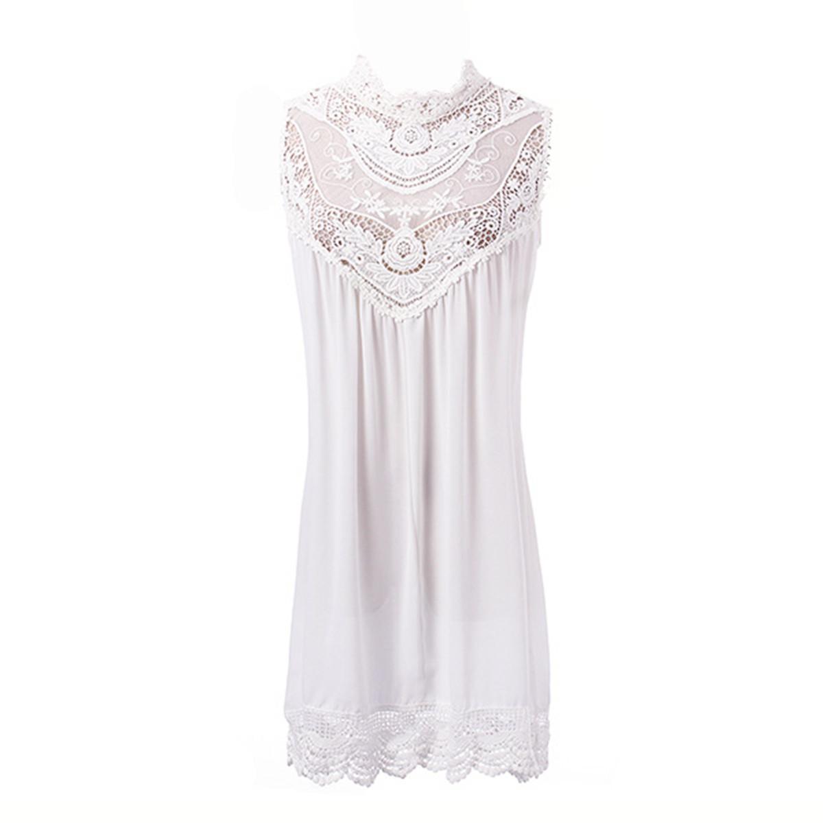 Zanzea Lace Crochet Chiffon Mini Dress (White)